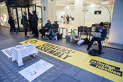London, UK. 19 November, 2019. Hunger striking climate activists from Extinction Rebellion assemble outside the Labour Party headquarters on the second day of an 'Election Rebellion' hunger strike with three demands for election candidates: to tell the truth by declaring a Climate and Ecological Emergency, to promote policies to halt biodiversity loss and reduce greenhouse gas emissions to net zero by 2025 and to help the Government create and be led by a Citizen's Assembly on climate and ecological justice.