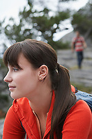 Pensive woman outdoors