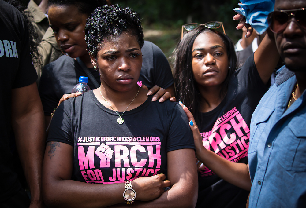 Saraland Alabama, May 20, 2018,<br /> Chikesia Clemons in the middle of supporters in Saraland Alabama during a  march seeking justice for her in Saraland, AL . Her eyes tears when tcops try to re-route the march.