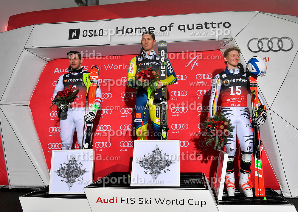 01.01.2018, Holmenkollen, Oslo, NOR, FIS Weltcup Ski Alpin, City Event Oslo, Herren, Parallelslalom, Siegerehrung, im Bild v. l. Michael Matt (AUT, 2. Platz), Andre Myhrer (SWE, 1. Platz), Linus Strasser (GER, 3. Platz) // f. l. second placed Michael Matt of Austria, winner Andre Myhrer of Sweden, third placed Linus Strasser of Germany during the winner Ceremony for the man's Parallel Slalom of FIS Ski Alpine World Cup at the Holmenkollen in Oslo, Norway on 2018/01/01. EXPA Pictures © 2018, PhotoCredit: EXPA/ Nisse Schmid<br /> <br /> *****ATTENTION - OUT of SWE*****