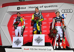 01.01.2018, Holmenkollen, Oslo, NOR, FIS Weltcup Ski Alpin, City Event Oslo, Herren, Parallelslalom, Siegerehrung, im Bild v. l. Michael Matt (AUT, 2. Platz), Andre Myhrer (SWE, 1. Platz), Linus Strasser (GER, 3. Platz) // f. l. second placed Michael Matt of Austria, winner Andre Myhrer of Sweden, third placed Linus Strasser of Germany during the winner Ceremony for the man's Parallel Slalom of FIS Ski Alpine World Cup at the Holmenkollen in Oslo, Norway on 2018/01/01. EXPA Pictures &copy; 2018, PhotoCredit: EXPA/ Nisse Schmid<br /> <br /> *****ATTENTION - OUT of SWE*****