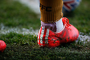 The boots of Joe Lolley of Nottingham Forest during the EFL Sky Bet Championship match between Sheffield United and Nottingham Forest at Bramall Lane, Sheffield, England on 19 April 2019.