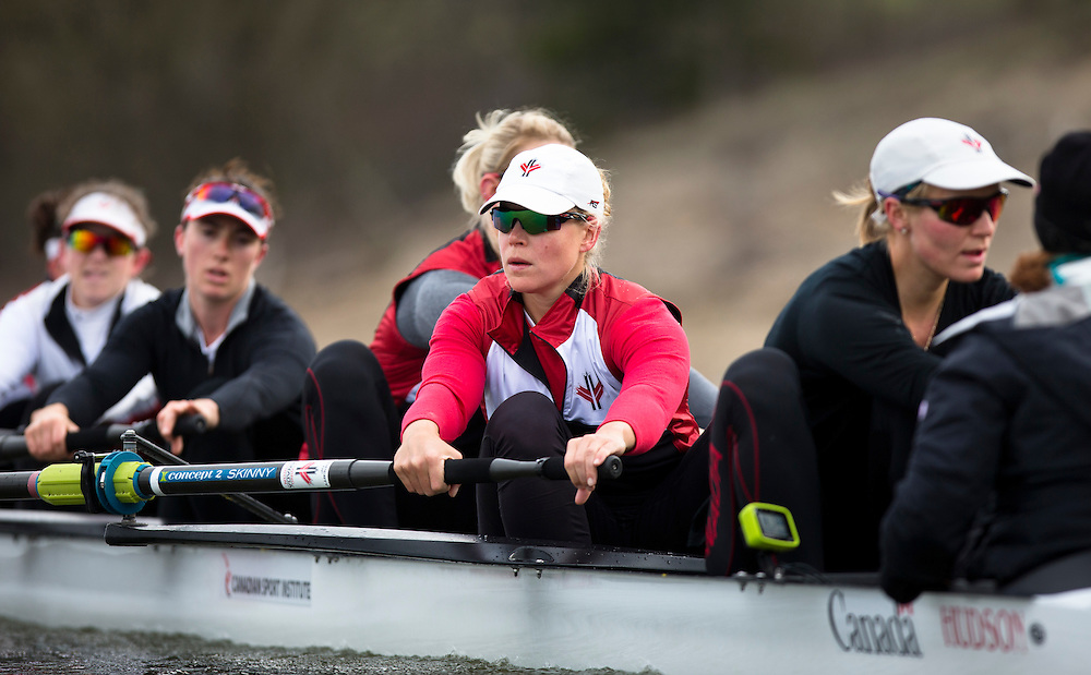Ashley Brzozowicz  member of the 2016 Canadian Olympic Rowing Team in the women's eight trains at Lake Fanshawe in London, Ontario Canada on April 25th, 2016