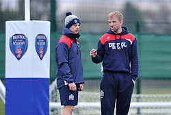 Bristol Academy backs coach Sean Marsden talks with S&C coach George van Klaveren - Mandatory by-line: Paul Knight/JMP - 07/01/2017 - RUGBY - SGS Wise Campus - Bristol, England - Bristol Academy U18 v Exeter Chiefs U18 - Premiership U18 League