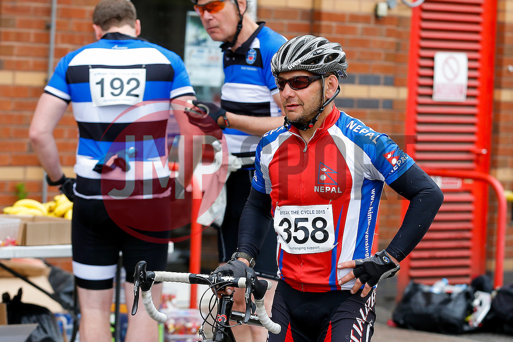 Ashton Gate finishers on Break the Cycle, a 110 mile charity bike ride organised by the Bristol, Bath and Gloucester Rugby Community Foundations, visiting their respective stadia, Ashton Gate, The Recreation Ground and Kingsholm Stadium - Photo mandatory by-line: Rogan Thomson/JMP - 07966 386802 - 14/06/2015 - SPORT - Cycling - Bristol, England - Ashton Gate Stadium.