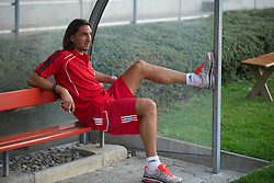 ZUG, SWITZERLAND - Wednesday, July 21, 2010: Liverpool's Sotirios Kyrgiakos before the Reds' first preseason match of the 2010/2011 season against Grasshopper Club Zurich at the Herti Stadium. (Pic by David Rawcliffe/Propaganda)