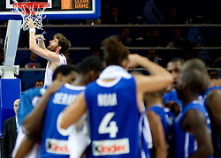 Rudy Fernandez of Spain celebrates after the final basketball game between National basketball teams of Spain and France at FIBA Europe Eurobasket Lithuania 2011, on September 18, 2011, in Arena Zalgirio, Kaunas, Lithuania. Spain defeated France 98-85 and became European Champion 2011, France placed second and Russia third. (Photo by Vid Ponikvar / Sportida)