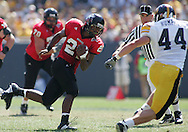 01 SEPTEMBER 2007: Northern Illinois tailback Justin Anderson (21) tries to get around Iowa linebacker Mike Humpal (44) in Iowa's 16-3 win over Northern Illinois at Soldiers Field in Chicago, Illinois on September 1, 2007.