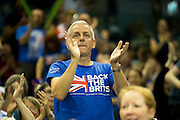 Great Britain fans react to a point won during the Davis Cup Semi Final between Great Britain and Argentina at the Emirates Arena, Glasgow, United Kingdom on 16 September 2016. Photo by Craig Doyle.