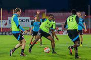 NOVI SAD - 17-08-2016, Vojvodina - AZ, Karadjordje Stadion, training, persconferentie, AZ speler Thomas Ouwejan, AZ speler Levi Garcia,