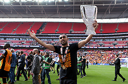 Ahmed Elmohamady of Hull City celebrates with a tin foil version of the Playoff Final Trophy - Mandatory by-line: Robbie Stephenson/JMP - 28/05/2016 - FOOTBALL - Wembley Stadium - London, England - Hull City v Sheffield Wednesday - Sky Bet Championship Play-off Final