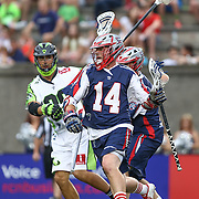 Ryan Boyle #14 of the Boston Cannons controls the ball during the game at Harvard Stadium on July 19, 2014 in Boston, Massachusetts. (Photo by Elan Kawesch)