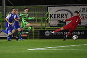 Forest Green Rovers Daniel Jones(40) shoots at goal misses the target during the FA Youth Cup match between Forest Green Rovers and Helston Athletic at the New Lawn, Forest Green, United Kingdom on 29 October 2019.