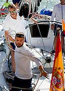 5-8-2015 PALMA DE MALLORCA  Spain's  King Felipe VI sailing on board the Spanish Navy sailing ship &sbquo;Aifos' during the 34th Copa del Rey Mapfre Sailing Cup, Majorca, Spain COPYRIGHT ROBIN UTRECHT<br /> 2015/05/08 PALMA DE MALLORCA Spaanse koning Felipe VI zeilen aan boord van de Spaanse marine zeilschip, Aifos 'tijdens de 34e Copa del Rey Mapfre Sailing Cup, Mallorca, Spanje COPYRIGHT ROBIN UTRECHT