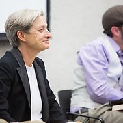 "Professor Judith Butler is seen at the ""If Not Now, When?"" conference put on by Open Hillel at Harvard University on October 11, 2014 in Cambridge, Massachusetts. (Photo by Elan Kawesch/The Times of Israel)"
