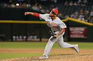 PHOENIX, AZ - JULY 08:  Ariel Hernandez #63 of the Cincinnati Reds delivers a pitch in the ninth inning of the MLB game against the Arizona Diamondbacks at Chase Field on July 8, 2017 in Phoenix, Arizona. The Cincinnati Reds won 7-0.  (Photo by Jennifer Stewart/Getty Images)