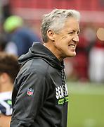 Nov 26, 2017; Santa Clara, CA, USA; Seattle Seahawks head coach Pete Carroll prior to game against the San Francisco 49ers at Levi's Stadium.