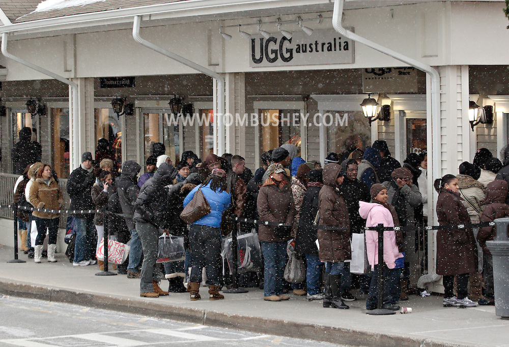 Central Valley, New York - People line up to shop at the UGG Australia boots store at Woodbury Common Premium Outlets on Dec. 19, 2009, the Saturday before Christmas. Woodbury Common has 220 stores featuring famous designer brands.