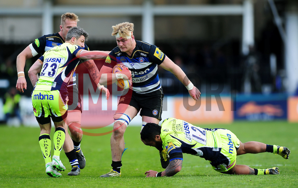 David Denton of Bath Rugby takes on the Sale Sharks defence - Mandatory byline: Patrick Khachfe/JMP - 07966 386802 - 23/04/2016 - RUGBY UNION - The Recreation Ground - Bath, England - Bath Rugby v Sale Sharks - Aviva Premiership.