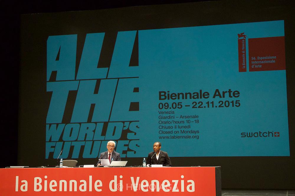 56th Art Biennale in Venice - All The World's Futures.<br /> Arsenale.<br /> Biennale 56 Director Okwui Enwezor (r.), Biennale President Paolo Baratta.