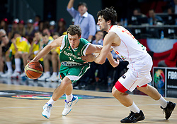 Goran Dragic of Slovenia vs Sergio Llull of Spain during the fifth-place basketball match between National teams of Slovenia and Spain at 2010 FIBA World Championships on September 10, 2010 at the Sinan Erdem Dome in Istanbul, Turkey.   (Photo By Vid Ponikvar / Sportida.com)