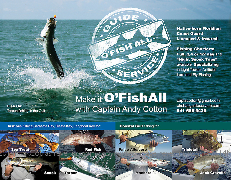 Native-born Floridian and Coast Guard Licensed and Insured, Captain Andy Cotton offers Fishing Charters Inshore inclding Sarasota Bay, Siesta Key, Longboat Key and Coastal Gulf fishing charters for Florida Game Fish.