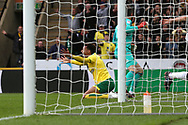 Josh Murphy of Norwich is fouled by Scott Carson of Derby County but no free kick or penalty is awarded by Referee Peter Bankes during the Sky Bet Championship match at Carrow Road, Norwich<br /> Picture by Paul Chesterton/Focus Images Ltd +44 7904 640267<br /> 28/10/2017