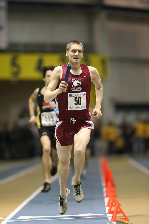 Windsor, Ontario ---13/03/09--- Rob Gibb of  McMaster University competes in the 4x800m Relay at the CIS track and field championships in Windsor, Ontario, March 13, 2009..Sean Burges Mundo Sport Images
