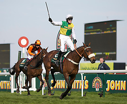 LIVERPOOL, ENGLAND - Saturday, April 9, 2011: Jason Maguire celebrates riding Ballabriggs to victory in The Grand National, during Day 3 of the 2011 Grand National meeting at Aintree Racecourse. (Photo by David Tickle/Propaganda)