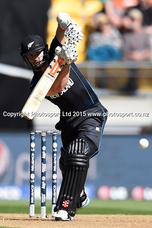 New Zealand batsman Kane Williamson plays a straight drive during the ICC Cricket World Cup Quaterfinal match between New Zealand and West Indies at Westpac Stadium in Wellington, New Zealand. Saturday 21  March 2015. Copyright Photo: Raghavan Venugopal / www.photosport.co.nz