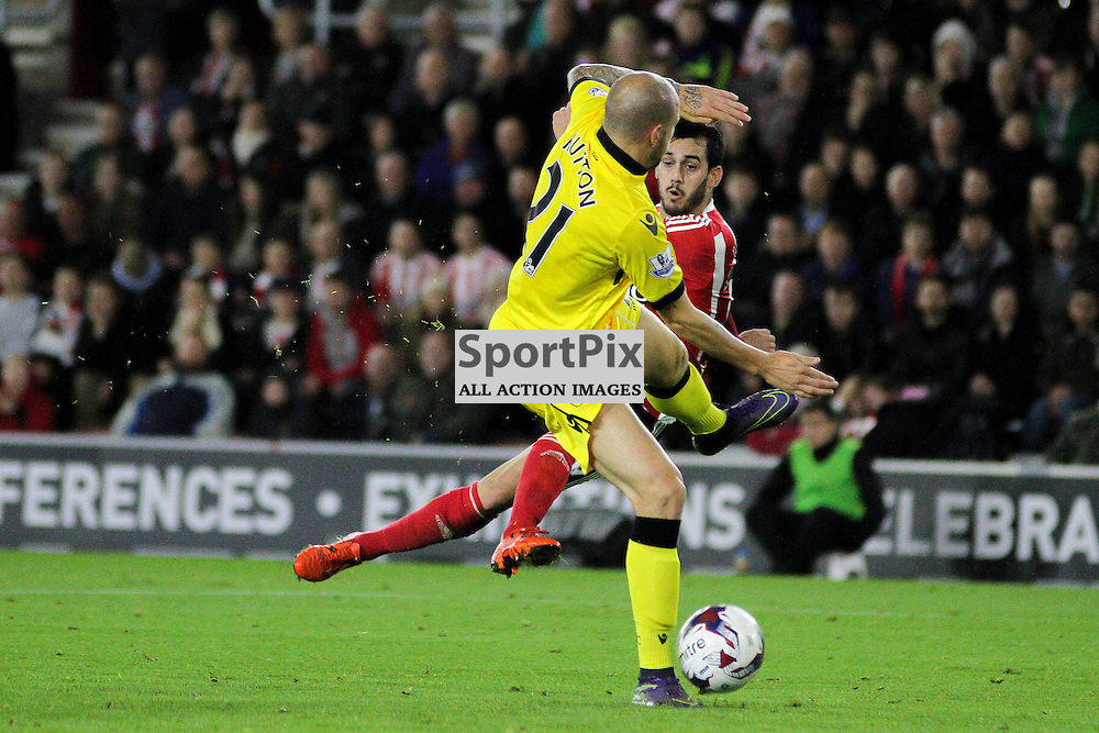 Alan Hutton moves to make a challenge as Juanmi attempts a spectacular volley During Southampton vs Aston Villa on Wednesday the 28th October 2015.
