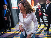 10 AUGUST 2019 - DES MOINES, IOWA: Senator KAMALA HARRIS, (D-CA), a Democratic Presidential candidate, leaves the stage after speaking to gun violence survivors at the Presidential Gun Sense Forum. Several thousand people from as far away as Milwaukee, WI, and Chicago, came to Des Moines Saturday for the Presidential Gun Sense Forum. Most of the Democratic candidates for president attended the event, which was organized by Moms Demand Action, Every Town for Gun Safety, and Students Demand Action.             PHOTO BY JACK KURTZ
