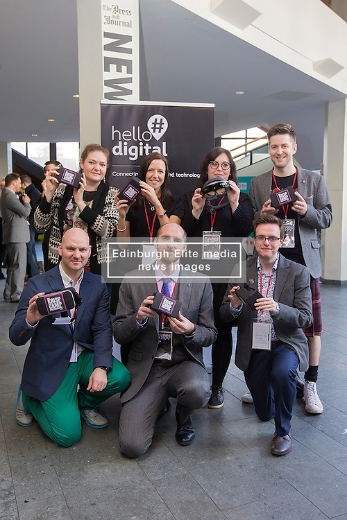 Speakers and exhibitors holing virtual reality glasses at #hellodigital Extra 2017 event, held at Eden Court in Inverness.<br /> <br /> Pictured:<br /> Back Row L-R: Cat Kemp (Krisp Photography - speaker), Pauline McLaughlin (Equator - exhibitor), Jillian Ney (DRJN - speaker), Mike McGrail (Velocity Digital - speaker).<br /> Front Row L-R: David Pugh-Jones (The Smalls - speaker), Fergus Weir (Teclan - speaker), Craig Steele (Codedojo - speaker   <br /> <br /> Malcolm McCurrach | EEm | Mon, 20, February, 2017