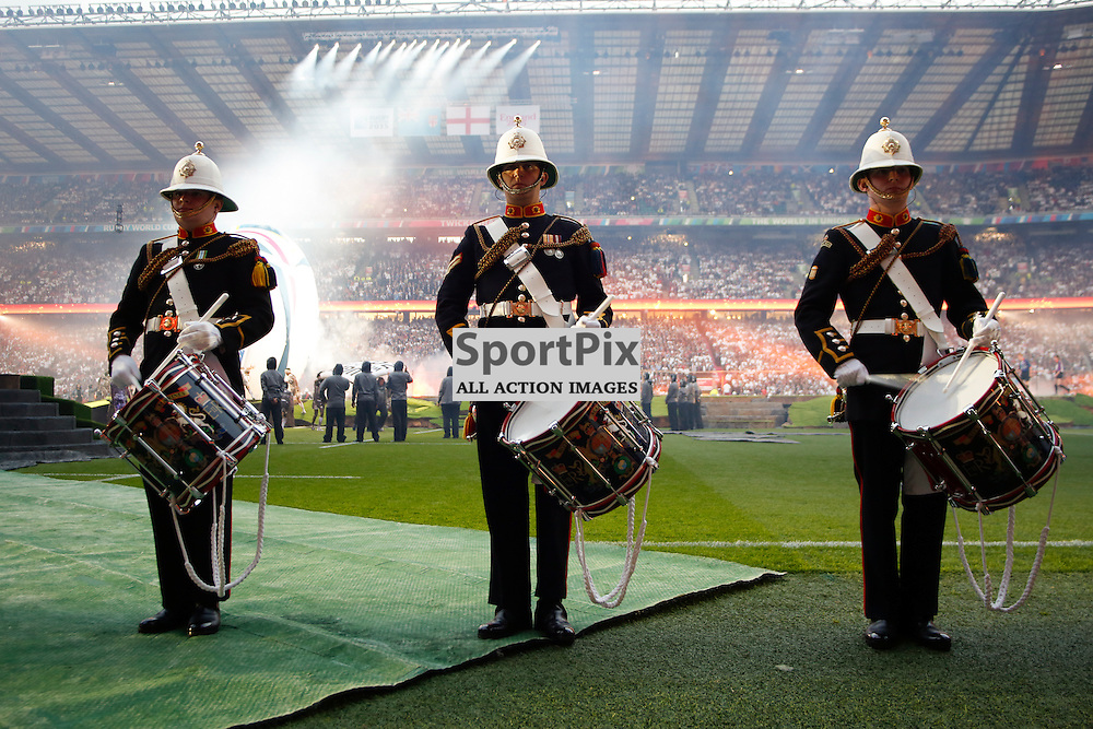 TWICKENHAM, ENGLAND - SEPTEMBER 18: Drummers during the Rugby World Cup opening ceremony at Twickenham on September 18, 2015 in London, England. (Credit: SAM TODD | SportPix.org.uk)