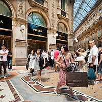 MILAN, ITALY - JULY 03: Shoppers on the first day of the Summer Sales in the elegant Galleria Vittorio Emanuele in the centre of Milan on July 3, 2010 in Milan, Italy. Milan's summer sales start today. .***Agreed Fee's Apply To All Image Use***.Marco Secchi /Xianpix. tel +44 (0) 207 1939846. e-mail ms@msecchi.com .www.marcosecchi.com