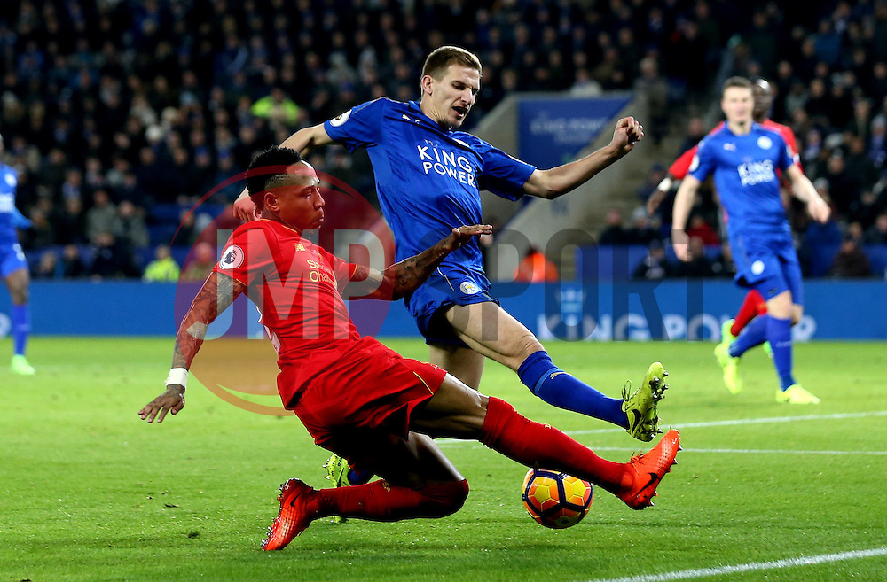 Nathaniel Clyne of Liverpool crosses the ball past Marc Albrighton of Leicester City - Mandatory by-line: Robbie Stephenson/JMP - 27/02/2017 - FOOTBALL - King Power Stadium - Leicester, England - Leicester City v Liverpool - Premier League