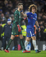 Football - 2017 / 2018 FA Cup - Third Round, Replay: Chelsea vs. Norwich city<br /> <br /> David Luiz of Chelsea consoles Norwich goalkeeper Angus gunn after losing the shoot out at Stamford Bridge.<br /> <br /> COLORSPORT/ANDREW COWIE