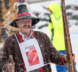 31.01.2016, Casino Arena, Seefeld, AUT, FIS Weltcup Nordische Kombination, Seefeld Triple, Skisprung, im Bild ein Mann in historischer Skibekleidung // a guy with historic ski gear before the Competition Jump of Skijumping of the FIS Nordic Combined World Cup Seefeld Triple at the Casino Arena in Seefeld, Austria on 2016/01/31. EXPA Pictures © 2016, PhotoCredit: EXPA/ JFK