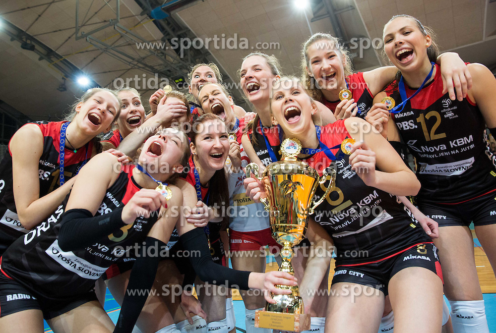 Players of OK Nova KBM Branik celebrate with a trophy after winning during final match of MEVZA League 2014/15 against Calcit Volley, on February 20, 2015 in Dvorana Lukna, Maribor, Slovenia. Photo by Vid Ponikvar / Sportida