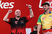 Jamie Hughes celebrates his second round win over Diogo Portela during the Ladrokes UK Open 2019 at Butlins Minehead, Minehead, United Kingdom on 1 March 2019.