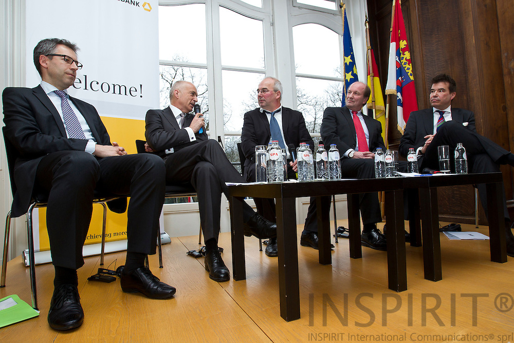 """From left: Michael Hager, Member of the Cabinet of Commissioner Gu?nther H. Oettinger, Michael Schmid, Divisional Board Member, Commerzbank AG, Dr. Detlef Fechtner, EU Correspondent, Börsen-Zeitung, Andreas von Scharfenberg, Chairman of the Limited Liability Company for Municipal Cooperation (GkK), and Matthias W. Send, General Manager, HEAG Su?dhessische Energie AG (HSE), at the debate meeting on """"Using sustainable energy concepts to create new business models"""" on Tuesday, 24 January 2012 at the Representation of the State of Hessen to the European Union. Photo: Erik Luntang/INSPIRIT Photo..""""Neue Geschäftsmodelle durch Umsetzung.zukunftsfähiger Energiekonzepte"""""""
