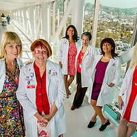 Cedars-Sinai Medical Center Oncology Nurses: Laura Snoussi, Anne Rosenblatt, Carolina Caso, Margarita Guerrero, Seda Gharapetian, Patrician Van Strien at Cedars-Sinai Medical Center, Monday, Aug. 20, 2012.  (Eric Reed/Cedars-Sinai Medical Center)