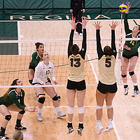 1st year outside hitter Jessica Lerminiaux (12) of the Regina Cougars in action during Women's Volleyball home game on February 10 at Centre for Kinesiology, Health and Sport. Credit: Arthur Ward/Arthur Images