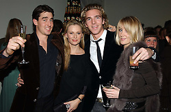 Left to right, LUIS BUCKWORTH, BRINDE COLLINS, LADY EMILY COMPTON and MR JAMES COOK at a party to celebrate the 4th anniversary of Quintessentially held at 11 Grosvenor Place, London  SW1 on 14th December 2004.<br />