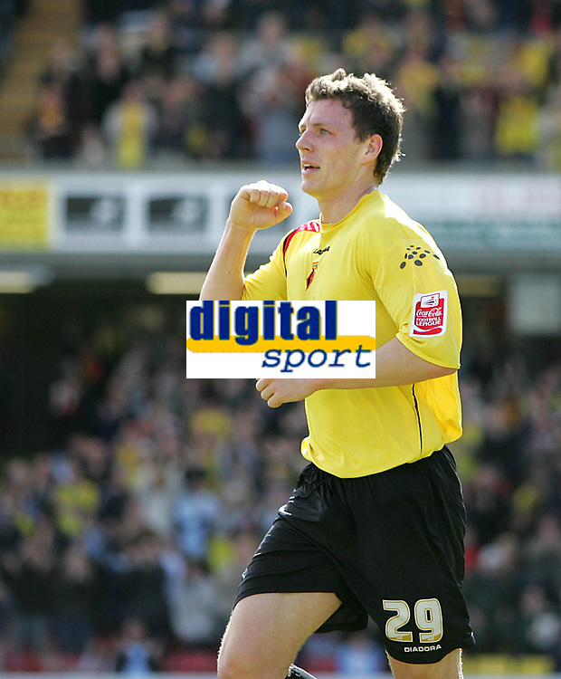 Photo: Lee Earle.<br /> Watford v Ipswich Town. Coca Cola Championship. 17/04/2006.Watford's Darius Henderson celebrates after scoring the opening goal.