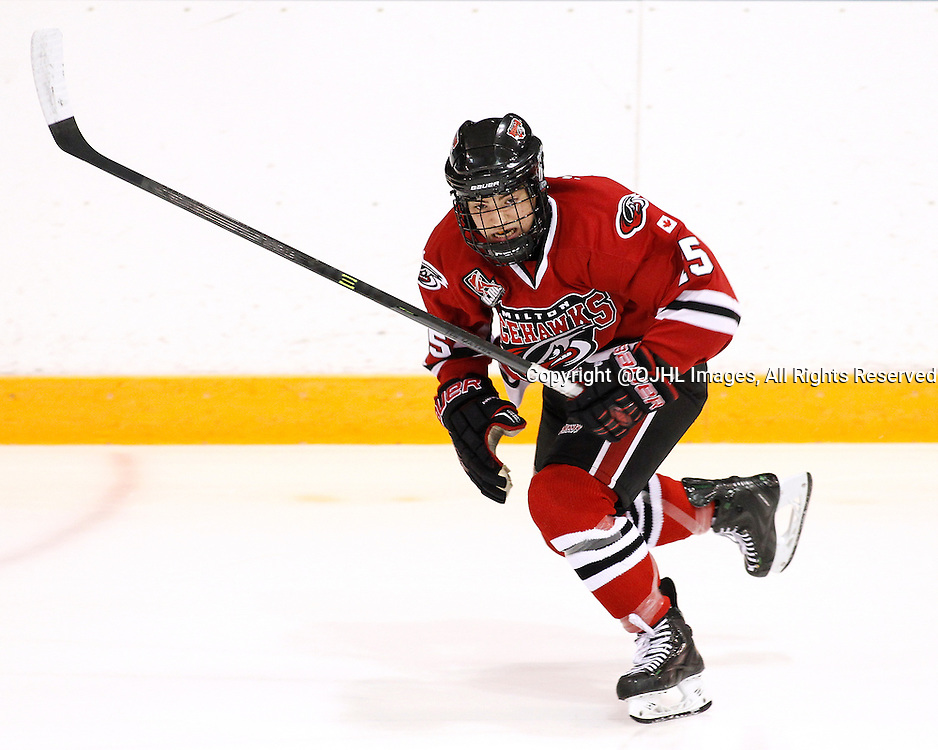 NEWMARKET, ON - Dec 3, 2015 : Ontario Junior Hockey League game action between Milton and Newmarket, Brandon Sabatini #15 of the Milton Icehawks follows the play during the first period.<br /> (Photo by Brian Watts / OJHL Images)