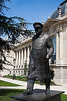 winston churchill statue in Paris France in Spring time of May 2008