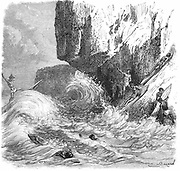 Hawaiian men surfing using wooden boards. Wood engraving published Paris c1895.