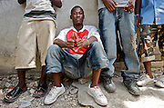 Aspiring rappers wait for a turn in a recording studio at Koze Kreyol, a gathering spot for aspiring rap kreyol artists, on July 21, 2008.