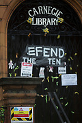 The front of the closed Carnegie Library in Herne Hill, on 20th December 2017, in the south London borough of Lambeth, , England. Shut by Lambeth council and occupied by protesters for 10 days in April, the library which was bequeathed by American philanthropist, Andrew Carnegie has been locked ever since because, say Lambeth austerity cuts are necessary even though 24hr security make it more expensive to keep closed than open for the local community. A gym that locals say they don't want or need is planned to replace the working library and while some of the 20,000 books on shelves will remain, no librarians will be present to administer it.